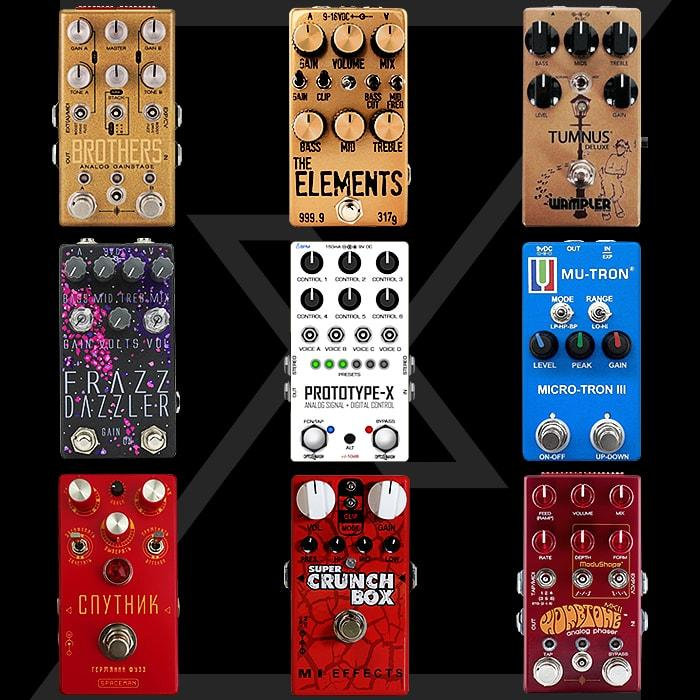 8 of my all-time favourite pedals surrounding my own idealised compact pedal prototype design