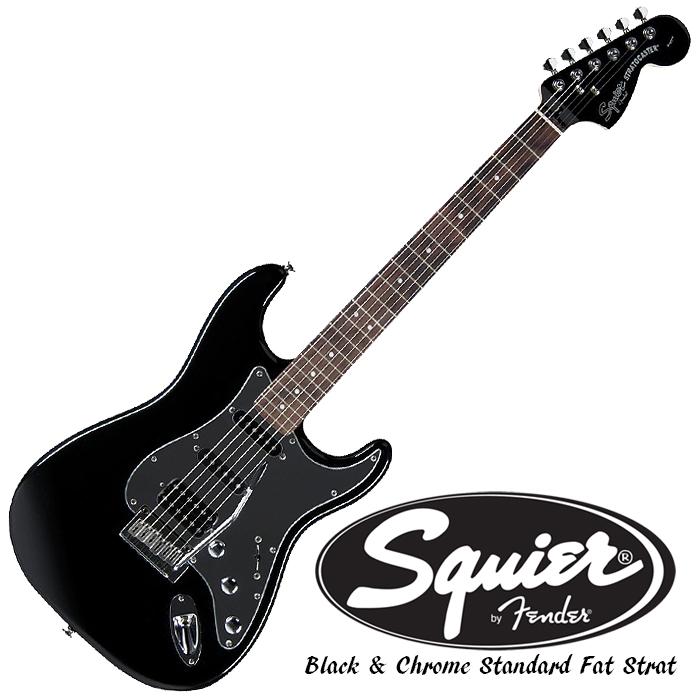 Squier Black & Chrome Standard Fat Strat HSS