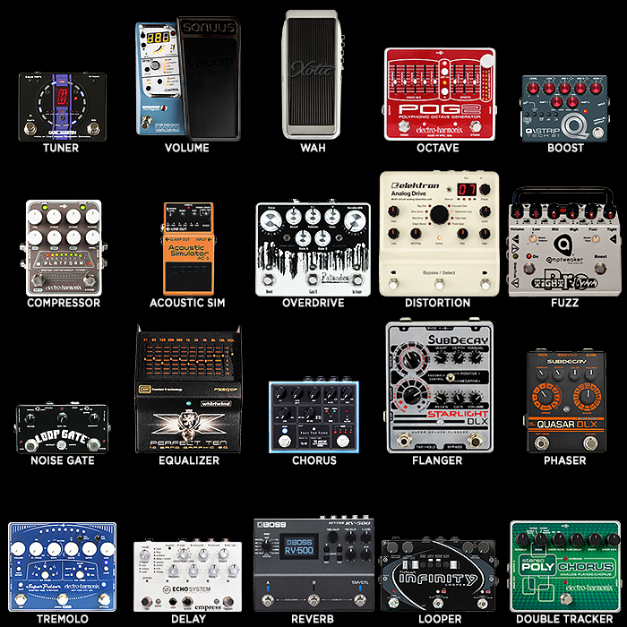 20 Key Guitar Effects Pedal Types - Preferred Large Pedal per Type