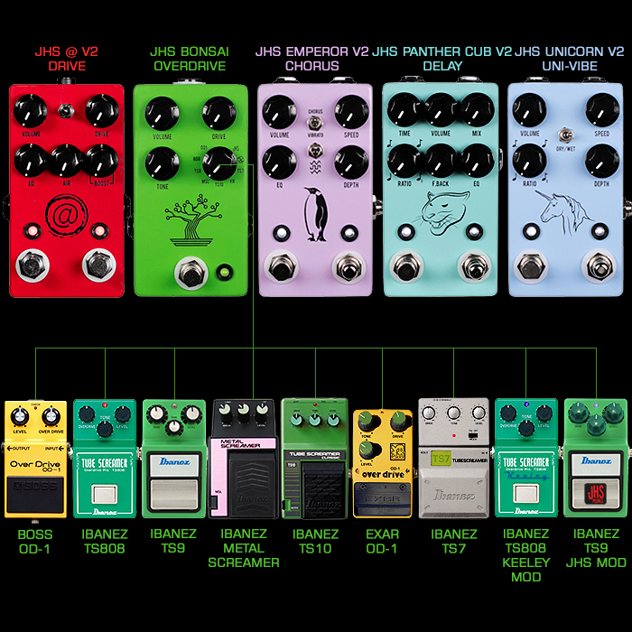 JHS Announces 5 new pedals for NAMM 2018 - including brand new Muffuletta-style 9-Voice Bonsai Tube Screamer Multi-Overdrive