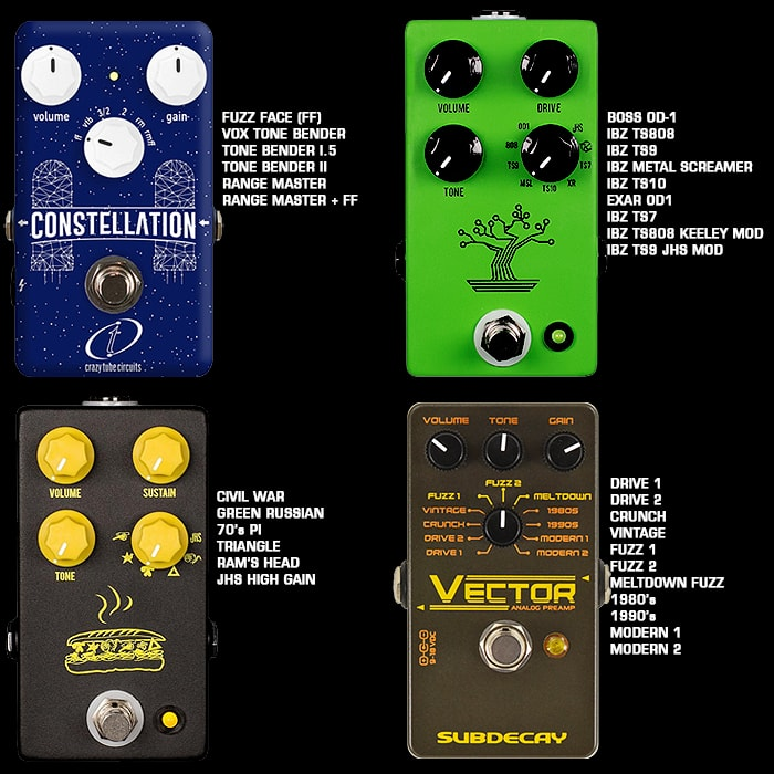 4 Great Analogue Multi-Voice Fuzz and Overdrive Pedals