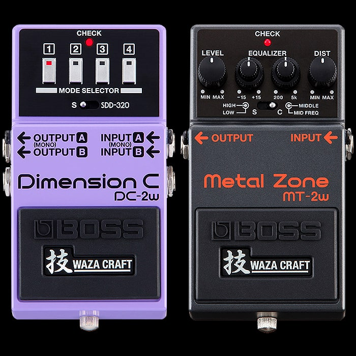 Boss Launches new upgraded Waza Craft Editions for the Classic DC-2 Dimension C and MT-2 Metal Zone Pedals