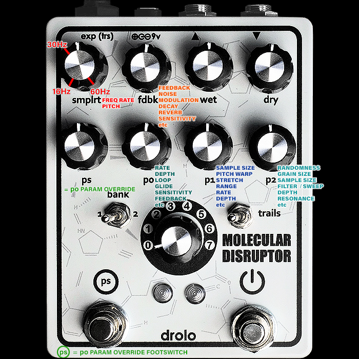 Drolo Molecular Disruptor V3 - Killer Glitch/Multi-FX Pedal : Overview with some Key Patches, Settings and Notes