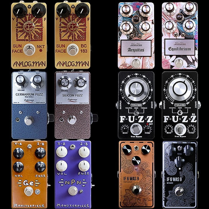 6 Potent Pairings - High Calibre Germanium and Silicon Compact Fuzz Face Type Pedal Pairs
