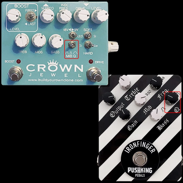 2 Great Q-Control Drive and Distortion Pedals - The BYOC Crown Jewel Multidrive and Pushking Ironfinger Distortion