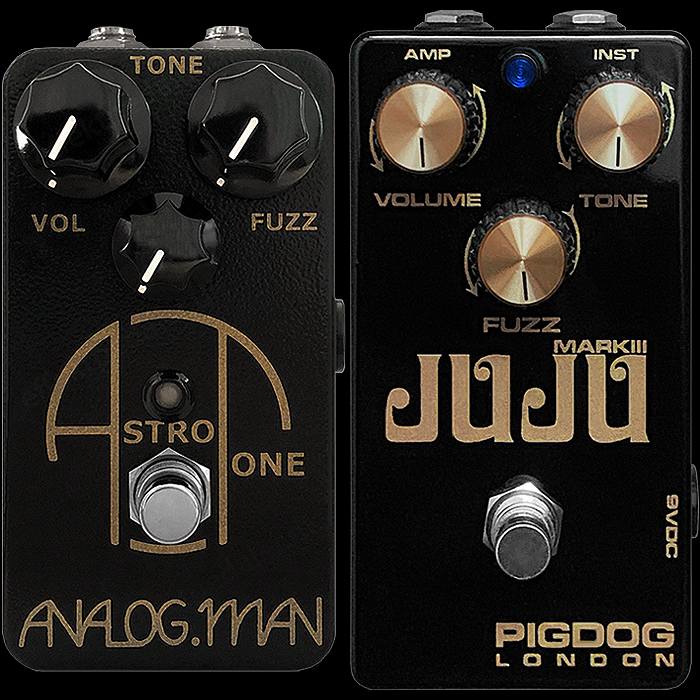 2 Classic Rare Transistor Black and Gold Fuzz Pedals - Analog.Man Astro Tone and PigDog Mark III Juju