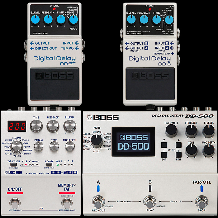 Boss Completes Digital Delay Range Revamp with New and Improved DD-3T and DD-8 Compact Delay Stompboxes