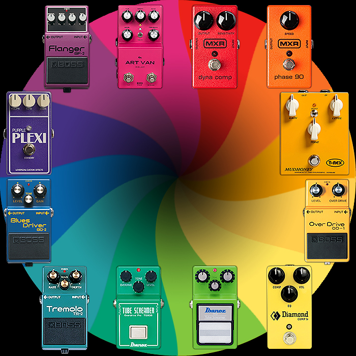 guitar pedal x gpx blog pedal design 101 pedal primary colour wheel and which pedals 39 own. Black Bedroom Furniture Sets. Home Design Ideas