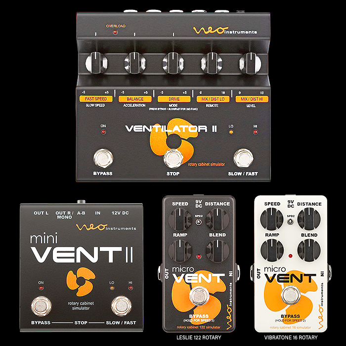 Neo Instruments Announces Release of two even smaller compact Micro Vent Pedals in Leslie and Vibratone Flavours