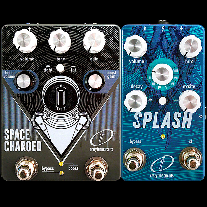 Crazy Tube Circuits will be introducing Significantly Updated Space Charged V2 Tube Drive and Splash MK4 Reverb Pedals at this week's NAMM Show