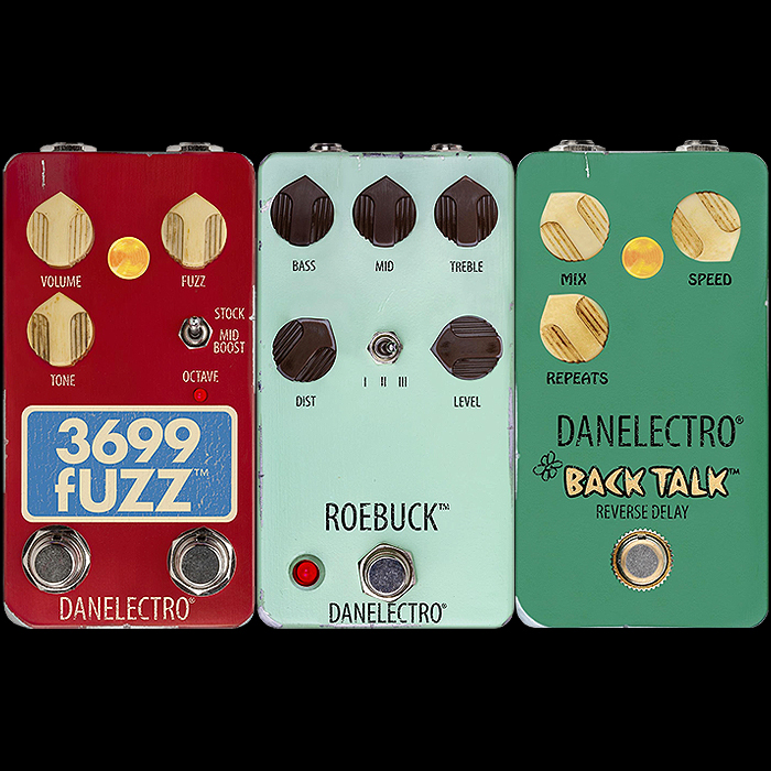 Danelectro Releases 3 more pedals for its Relic'd Vintage range including the 3699 Octave Fuzz, Roebuck Distortion and Back Talk Reverse Delay