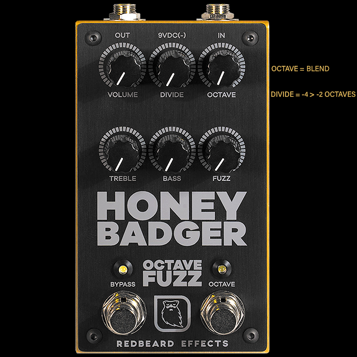 The Second Redbeard Effects Pedal is the Suitably Aggressive High Gain Honey Badger Sub-Octave Fuzz with a Twist!