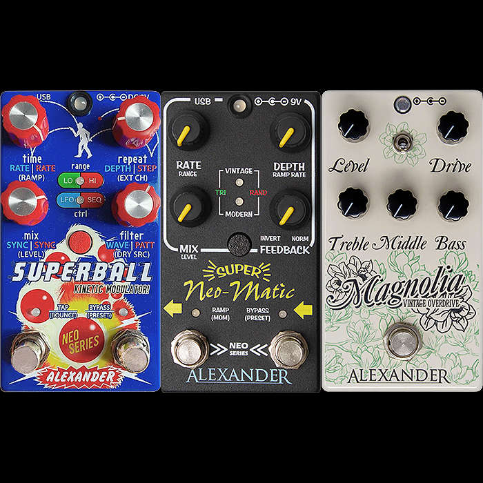 Alexander Pedals Introduces 3 new offerings at NAMM - Superball Kinetic Modulator, Super Neo-Matic Modulator and Magnolia Vintage Overdrive