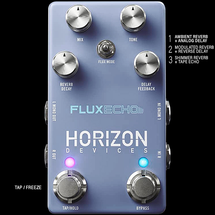 Horizon Devices Tease Forthcoming Flux Echo Compact Stereo Reverb and Delay Pedal
