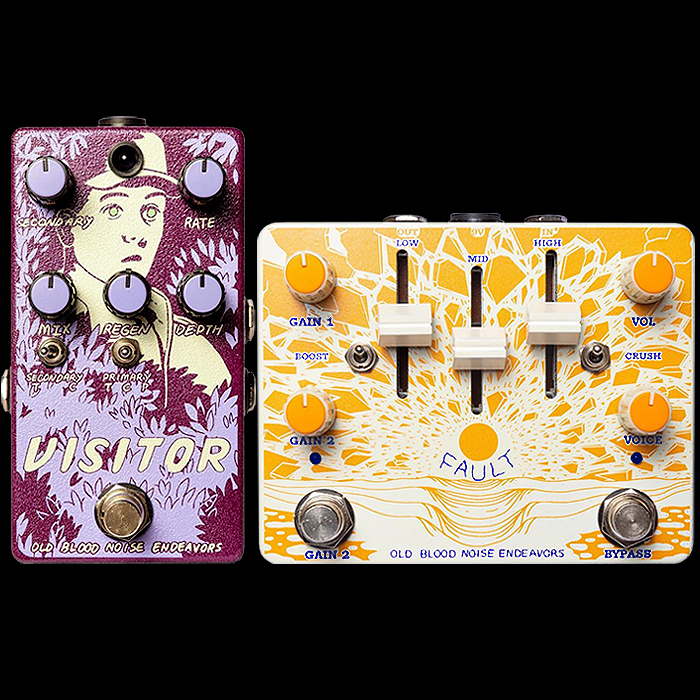 Old Blood Noise Endeavors Brings 2 new innovative pedals to NAMM - the Visitor Parallel Multi-Modulator, and the Fault V2 Overdrive Distortion