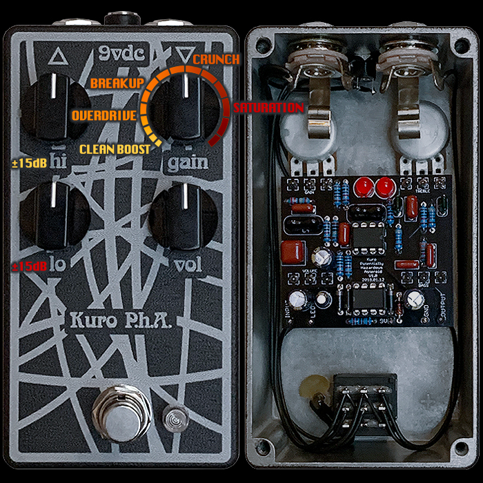 The Kuro Custom Audio P.h.A. Boost/Overdrive/PreAmp is a rare High Adaptability Gain Modifier and Tone Transformer