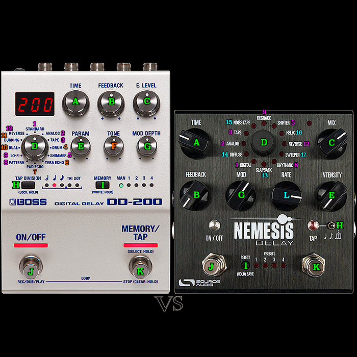 Boss DD-200 Digital Delay Workstation vs Source Audio Nemesis Digital Delay Workstation