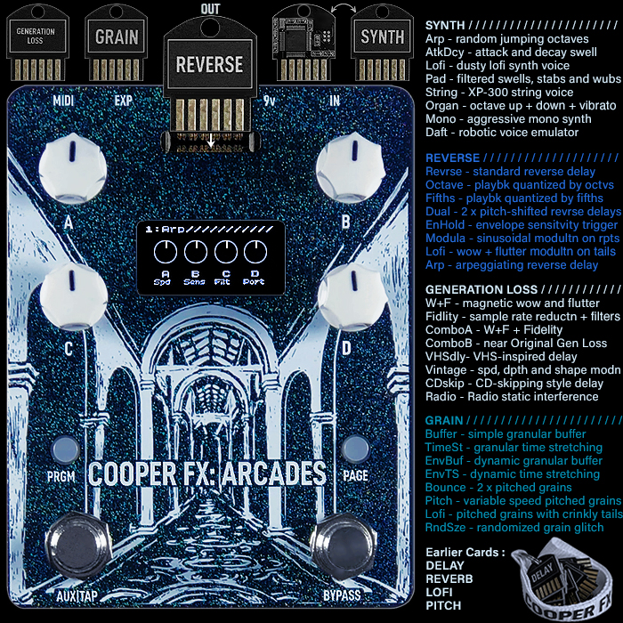 Cooper FX Launches Next Phase of its Arcades Multi-FX Pedal with a major new batch of units and 4 Key New Modular Cards