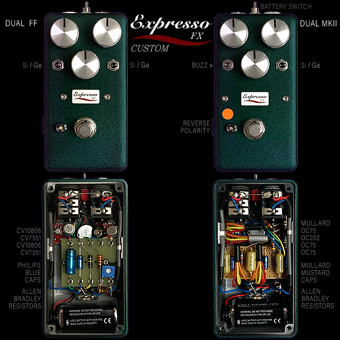 Expresso FX Delivers 2 Magnificent Custom Germanium / Silicon Switching Compact Enclosure Fuzz Pedals