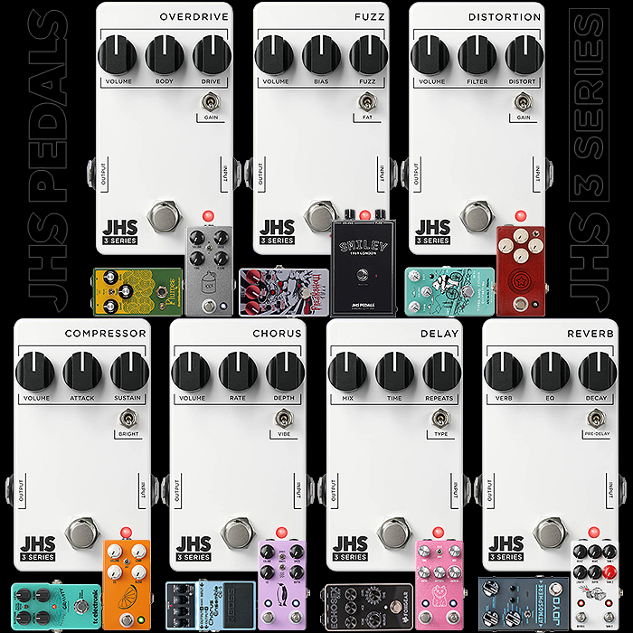 JHS Pedals Launches Compelling Sub $100/£100 Budget '3 Series' Utilitarian Range with 7 Pedals in its initial offering