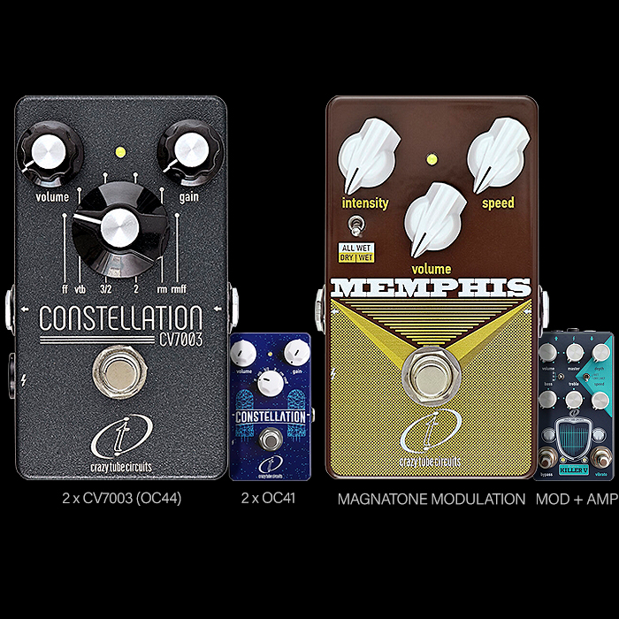 Crazy Tube Circuits Releases 2 new pedals evolved from existing classics - the Constellation CV7003 Multi-Mode Fuzz, and Memphis Vintage Vibrato