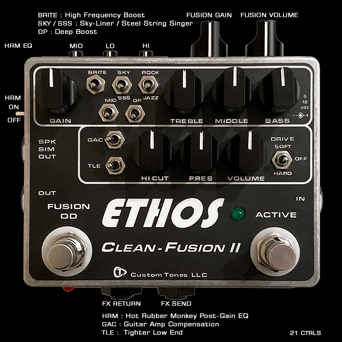 A Rare Dumble-style Fully-Loaded Custom Tones Ethos Clean-Fusion II 2-Channel Preamp is now part of the Reference Collection