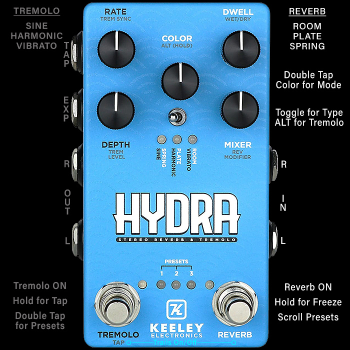 Keeley Launches Hydra Stereo Reverb & Tremolo Pedal on Same Smart Platform as the Eccos Delay