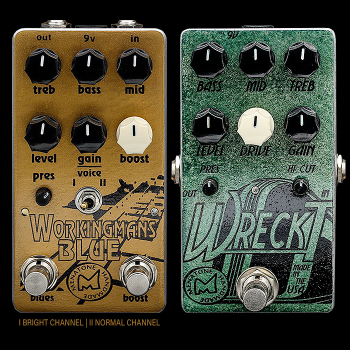 Brian Mena Surprises with recent announcement for New Versions of Menatone Workingman's Blue and Wreck'T Overdrive / Preamp-style Pedals