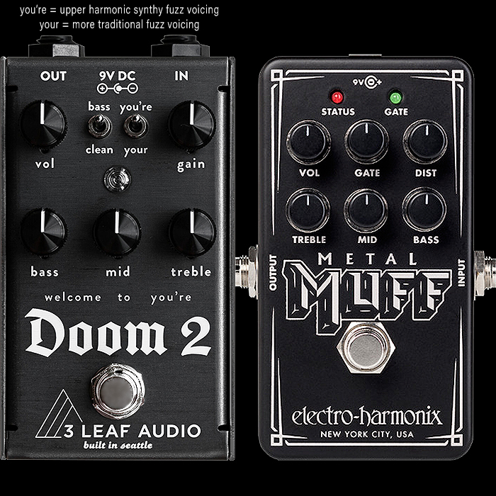 2 Cool New Extended Range Fuzz Pedals - 3 Leaf Audio Doom 2 and EHX Nano Metal Muff
