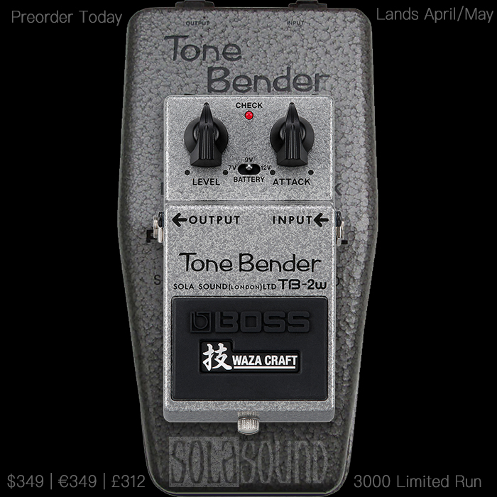 Boss Announces Pricing and Preorders for its Imminently Arriving Killer TB-2W Tone Bender Germanium Fuzz
