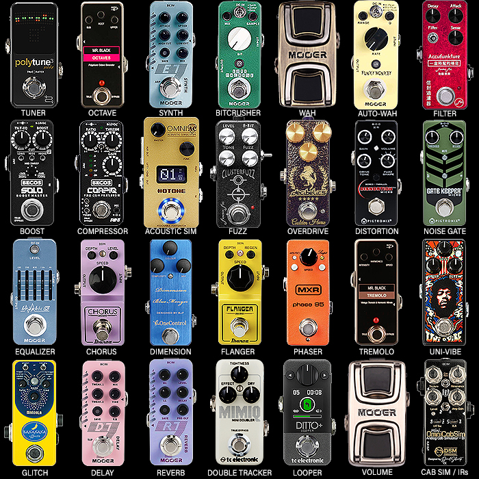 28 Key Guitar Effects Pedal Types - Preferred Mini Pedal per Type