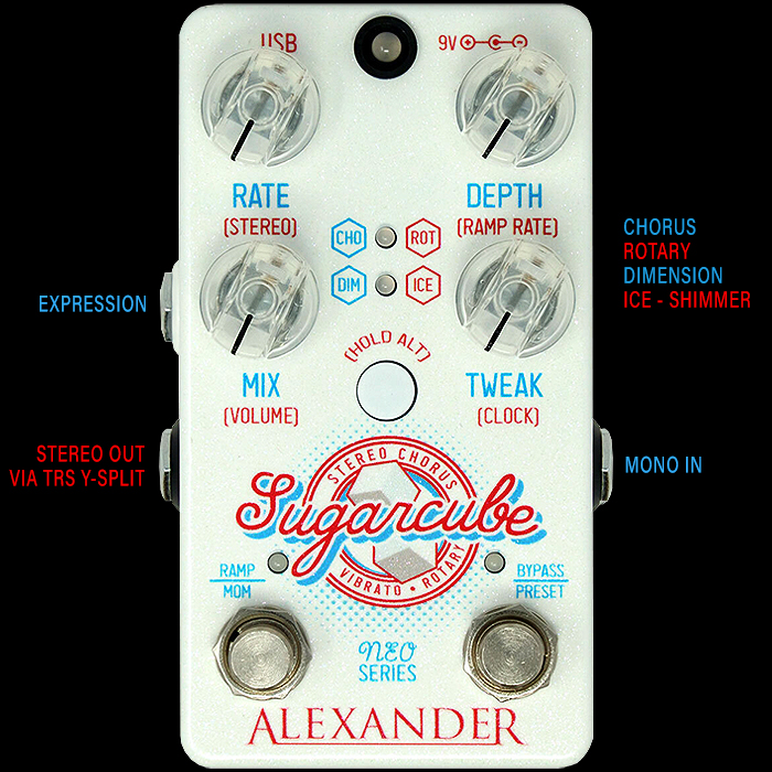 Alexander Pedals Delivers The Superbly Executed Stereo Sugarcube - Chorus, Vibrato and Rotary Pedal