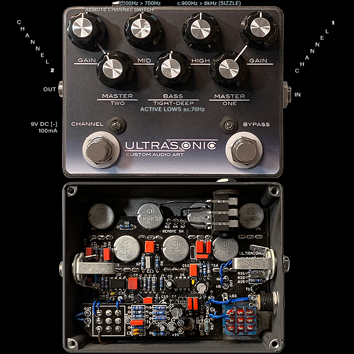 Custom Audio Art's Ultrasonic Dual-Channel High Gain Distortion Delivers Superb Muscular Definition to Heavy Rhythm and Lead Tones