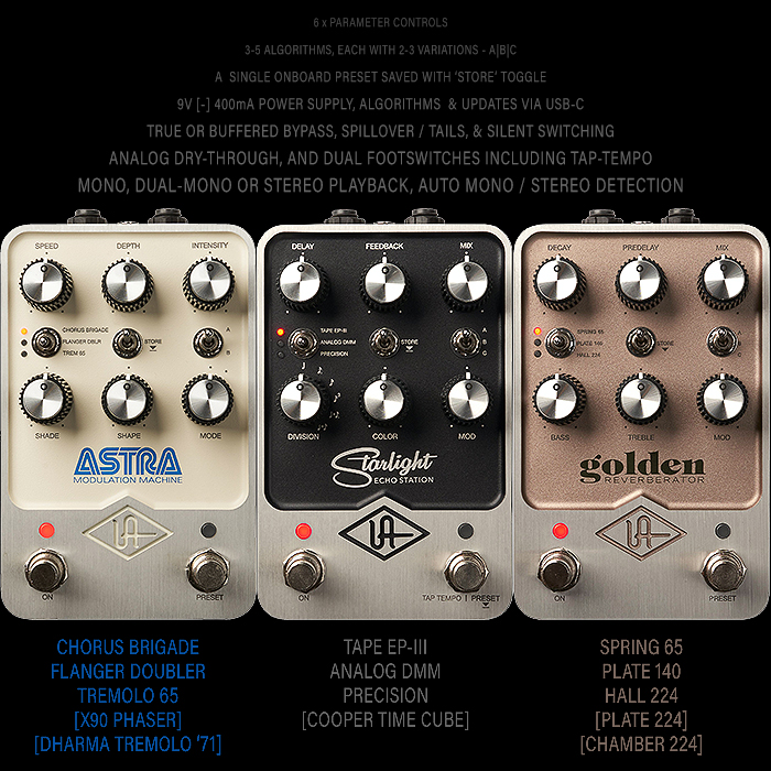 Universal Audio Enters the Pedal Game with Three Compelling UAFX Studio-Style Effects Units - Astra Modulation Machine, Starlight Echo Station and Golden Reverberator