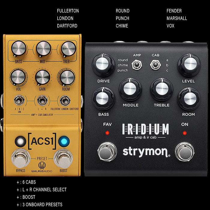 Walrus Audio Mako Series ACS1 Amp + Cab Simulator goes head-to-head with Strymon's Iridium Amp and IR Cab Simulator