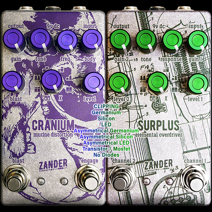 Alex Millar's Zander Circuitry Unleashes 2 Further Superb Compact Editions - the Truly Smart Multi-Clipping Cranium Rat-Style Fuzz/Distortion and Surplus Dual Channel Elemental Overdriver