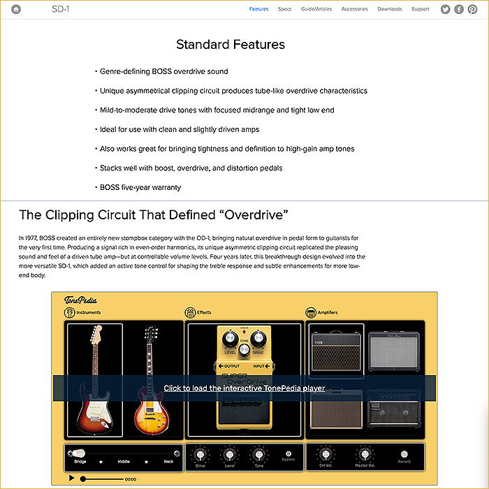 Features Summary and TonePedia Player