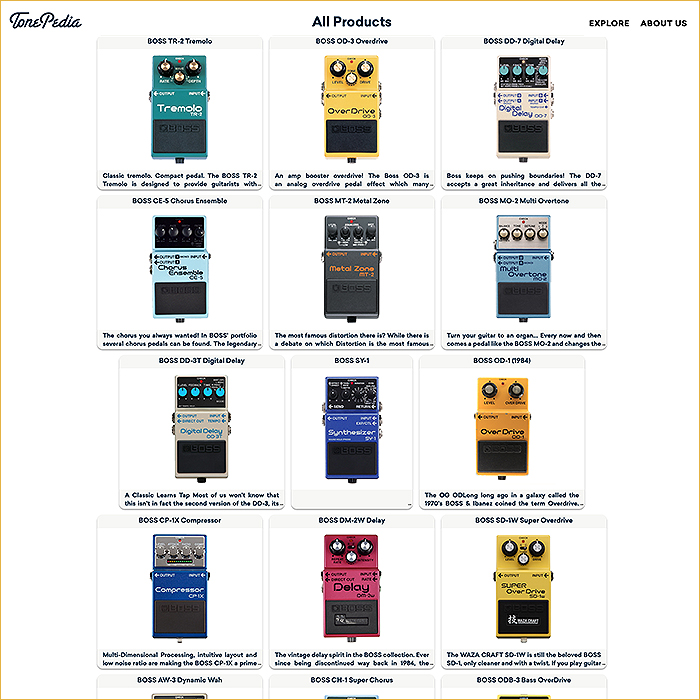 TonePedia Boss Effects Interactive Virtual Tone Library