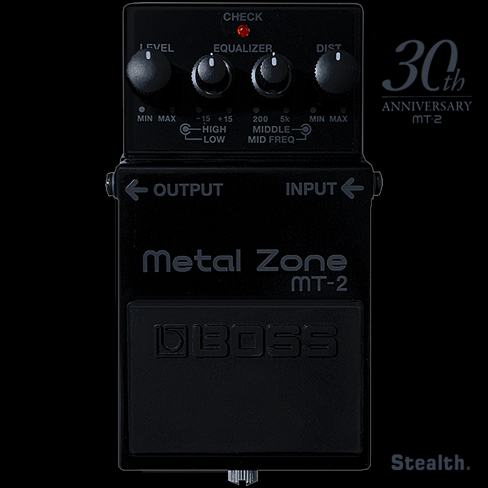 Boss Celebrates 30 Years of the MT-2 Metal Zone High Gain Distortion Pedal with An All-Black Stealth Anniversary Edition