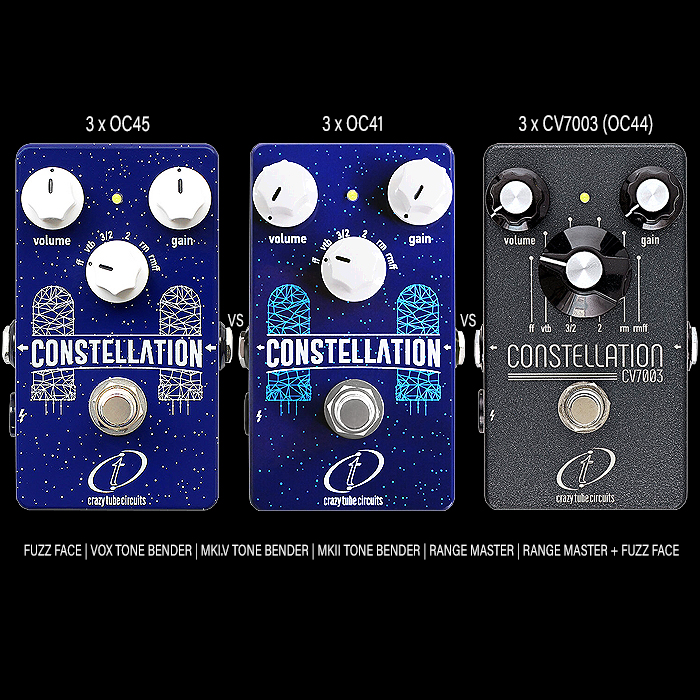 Crazy Tube Circuits' Trinity of Constellation Triple-Germanium-Transistor Multi-Fuzz Pedals sounds immense, and each of the 3 varieties is richly textured with its own distinct character