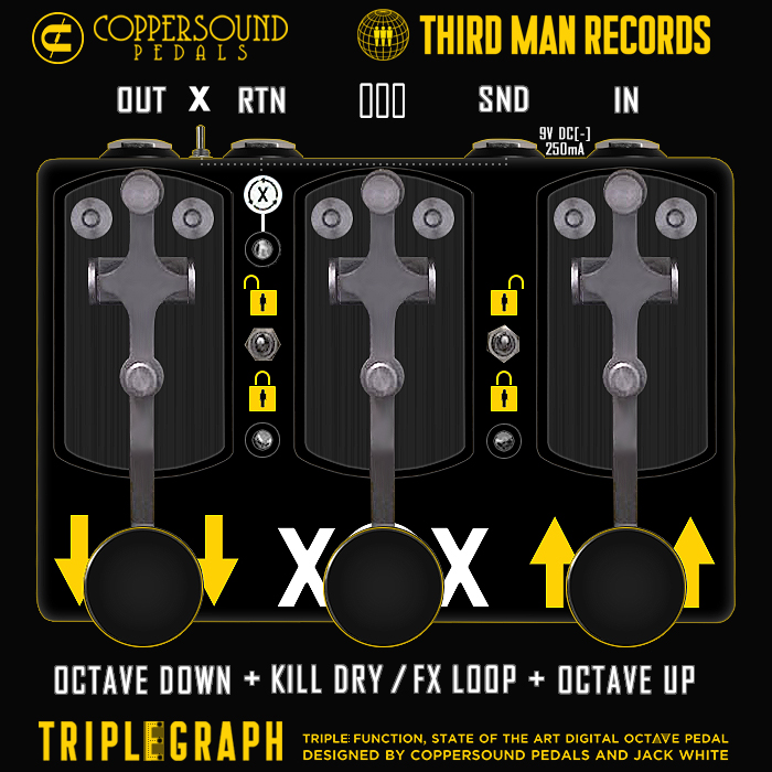 The CopperSound Triplegraph Signature Jack White Triple-Function Octave Up, Octave Down, and Kill-Switch / FX Loop Engage Pedal, has finally landed after a 6 month chase