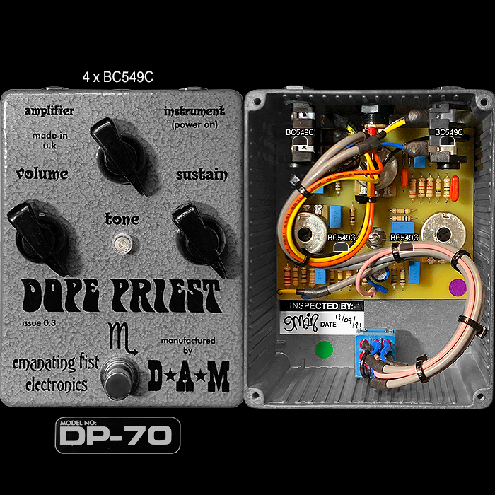 The Emanating Fist Electronics Dope Priest DP-70 is the Ultimate Primal / Primitive High Gain Big Muff Style 4-Transistor Fuzz