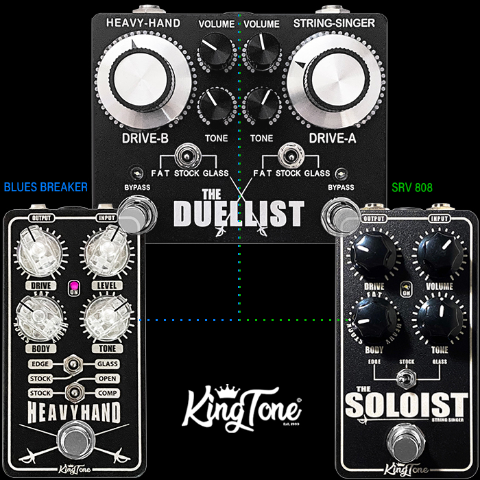 King Tone Finally Fully Splits Out The Duellist's Two Channels - String Singer / Soloist and Heavy-Hand into stand-alone Enhanced Compact Editions