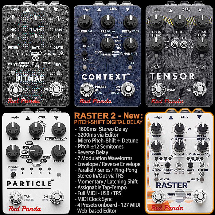 Red Panda Completes V2 Range Revamp with smart new Edition of its Raster Pitch and Frequency Shifting Digital Delay
