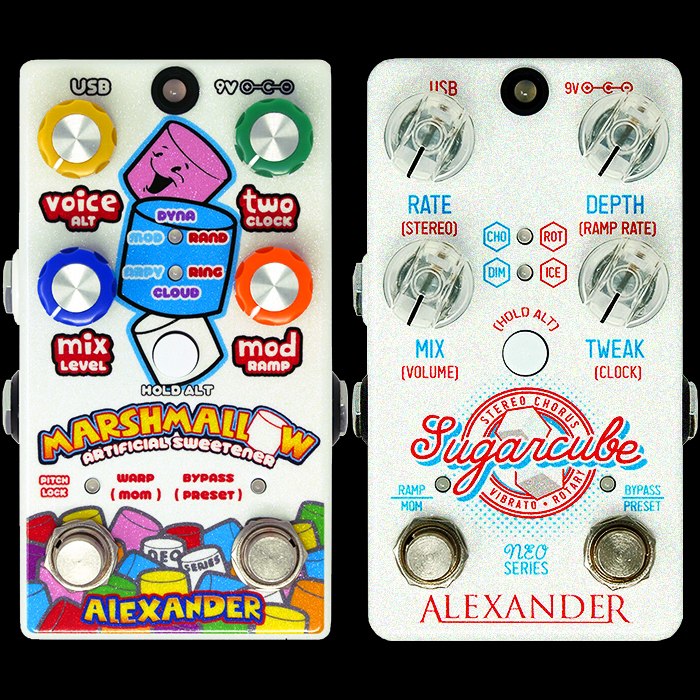 Alexander Pedals' Marshmallow Pitch-Shifter and Sugarcube Stereo Chorus/Vibrato/Rotary make for a Formidable Pair of Tone Sweeteners