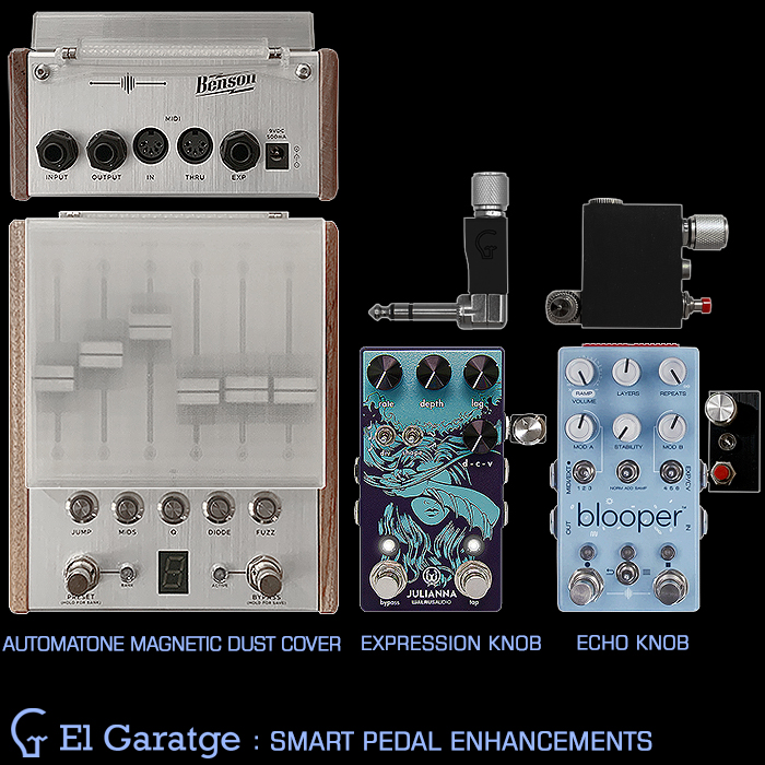 El Garatge Smart Pedal Enhancements by Oriol Domingo - Automatone Magnetic Dust Cover, Expression Knob, and Echo Knob
