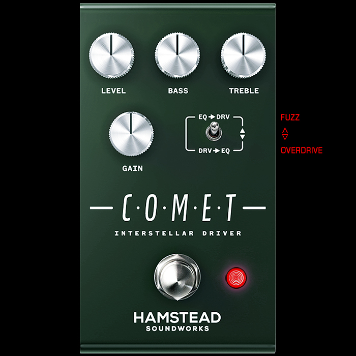 Hamstead Soundworks New EQ-Shifting Comet Interstellar Driver Delivers Both Overdrive and Fuzz Voicings