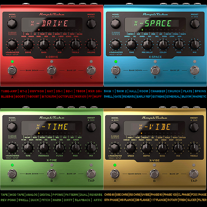 IK Multimedia Launches X-Gear Hardware Pedal Editions of its AmpliTube Plugin Algorithms - the X-Drive, X-Space, X-Time, and X-Vibe