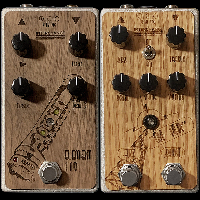 Interchange Noise Works' Killer Duo - Element 119 LED Clipping Distortion and On Air 2-in-1 Silicon Fuzz with Independent Boost