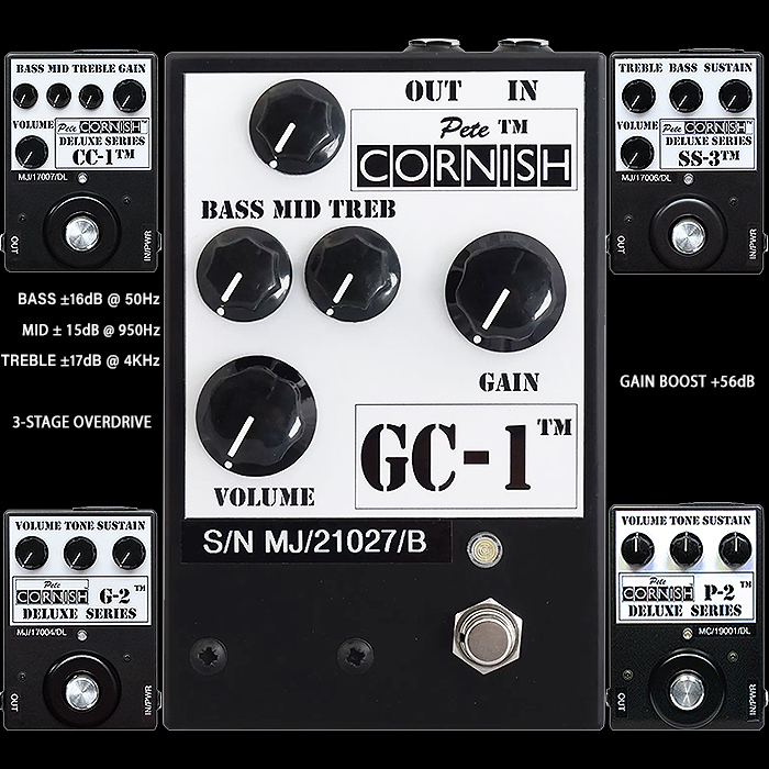 Pete Cornish Releases 45th Anniversary GC-1 Variable and Dynamic Soft, then Hard-Clipping 3-Stage Overdrive / Distortion - which combines the best of his CC-1, SS-3, G-2, and P-2 Pedals